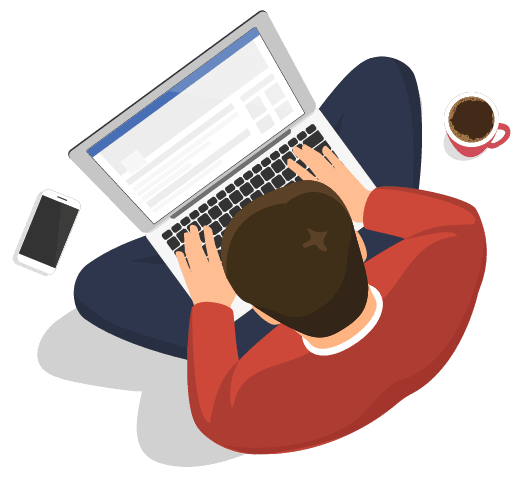 man looking at party wall questions on laptop