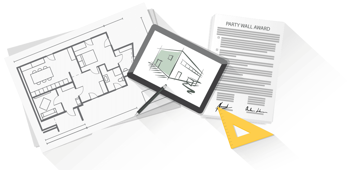 party wall surveyors desktop with party wall award