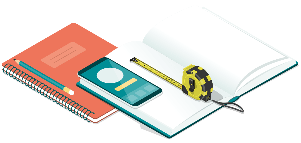 schedule of condition tape measure notebook and phone