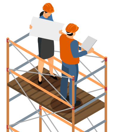 party wall surveyors on scaffolding